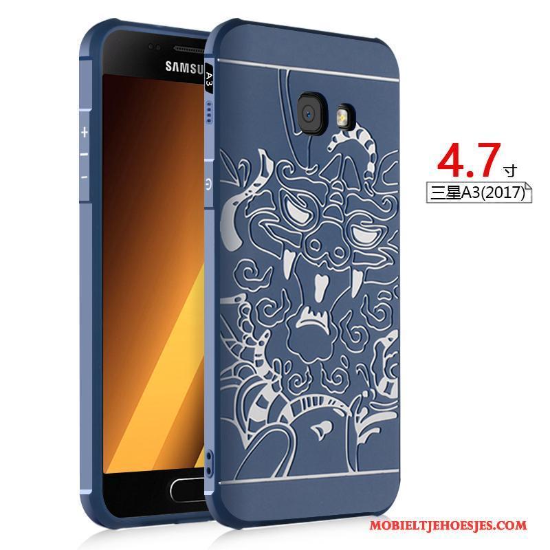 Samsung Galaxy A3 2017 Anti-fall Zacht Hoes Hoesje Ster Zwart Reliëf