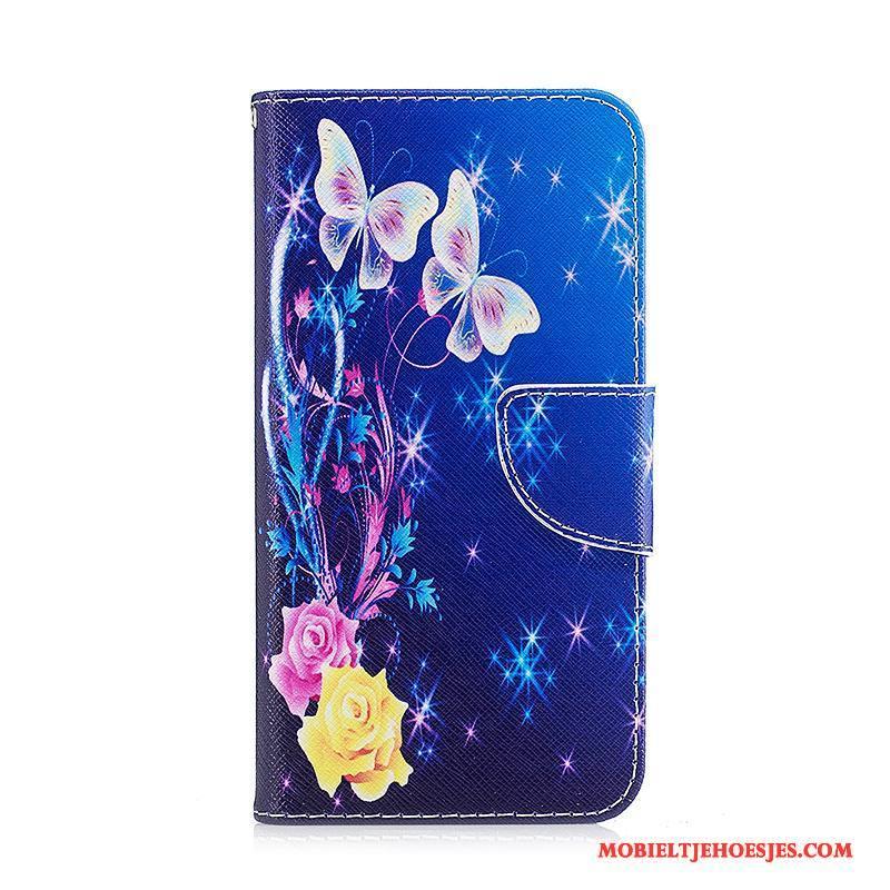 Samsung Galaxy A3 2017 Bescherming Hoes Hoesje Telefoon Ster Geschilderd Zwart Folio