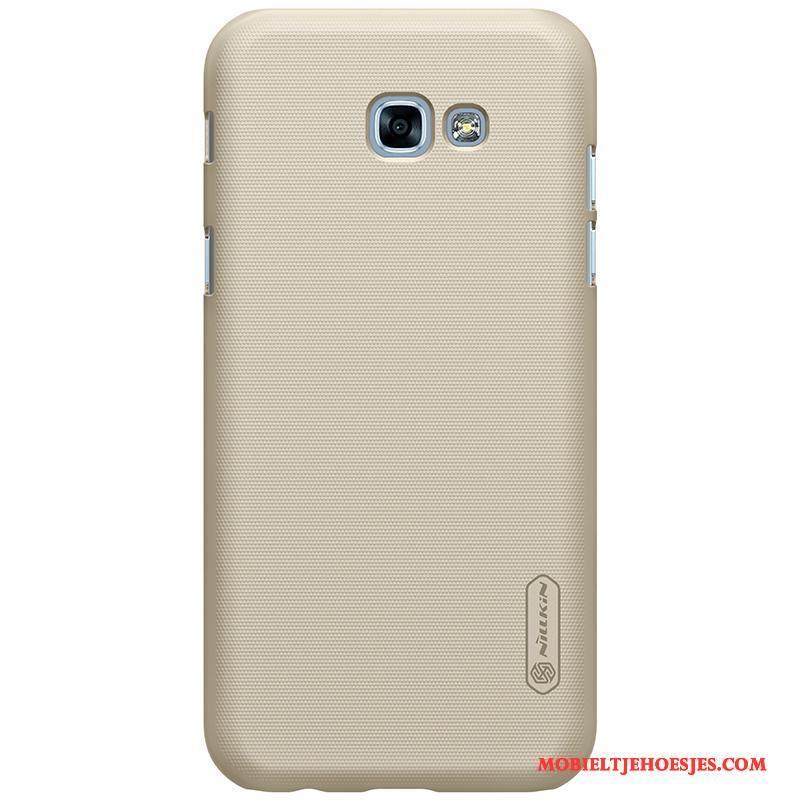 Samsung Galaxy A3 2017 Bescherming Rood Hoes Anti-fall Goud Schrobben Hoesje Telefoon