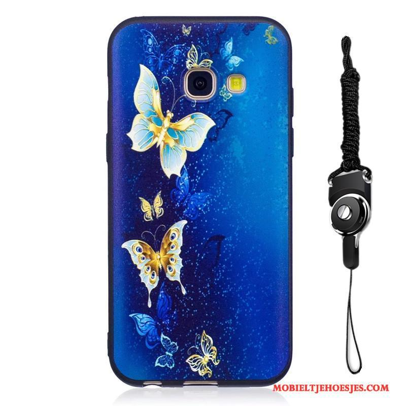 Samsung Galaxy A3 2017 Hoesje Geschilderd Spotprent Bescherming Hoes Ster Blauw Schrobben