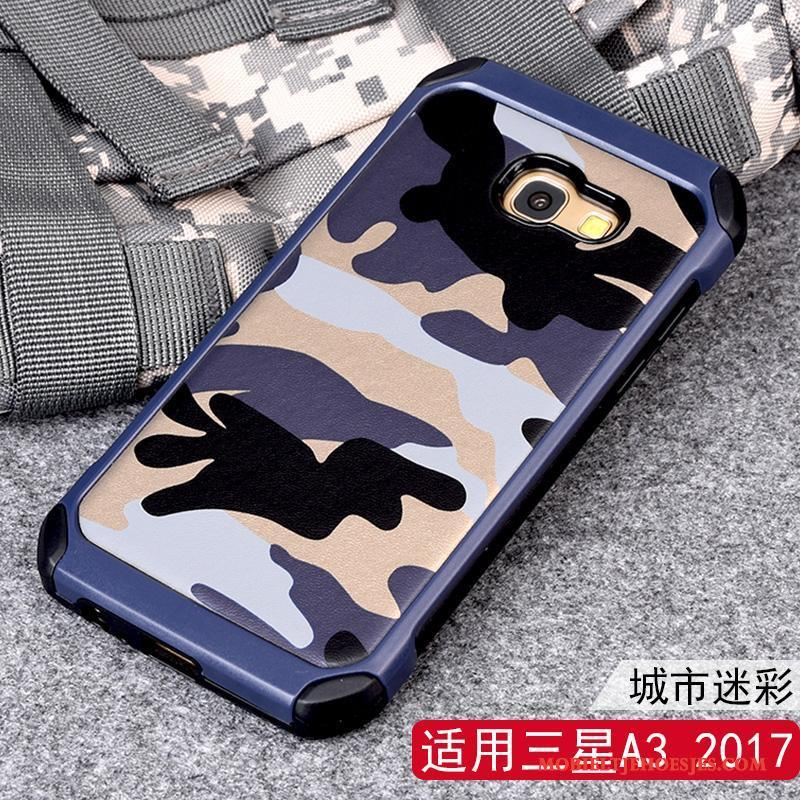 Samsung Galaxy A3 2017 Ster Camouflage Blauw Siliconen Hoes Hoesje Telefoon Anti-fall