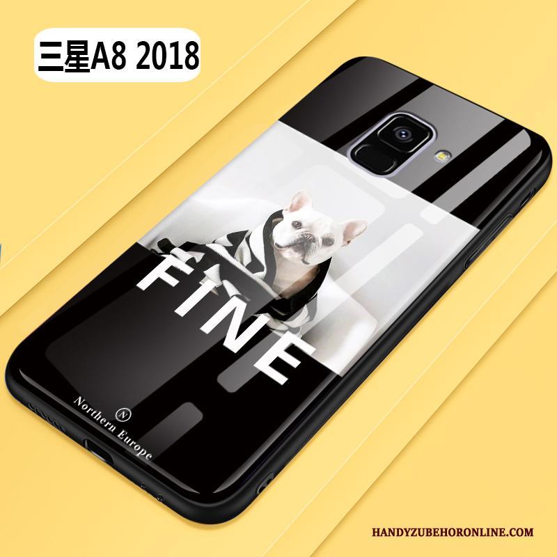 Samsung Galaxy A8 2018 Lovers Zwart Scheppend All Inclusive Anti-fall Spotprent Hoesje
