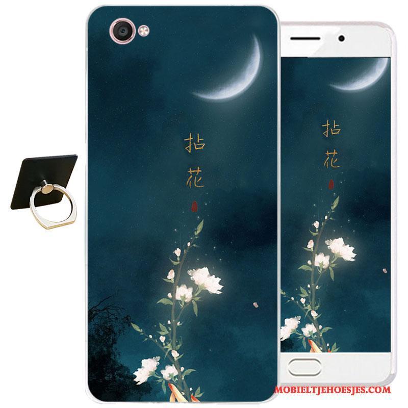 Samsung Galaxy J3 2017 Hoesje All Inclusive Bescherming Zacht Inkt Schilderij Blauw Chinese Stijl Hoes