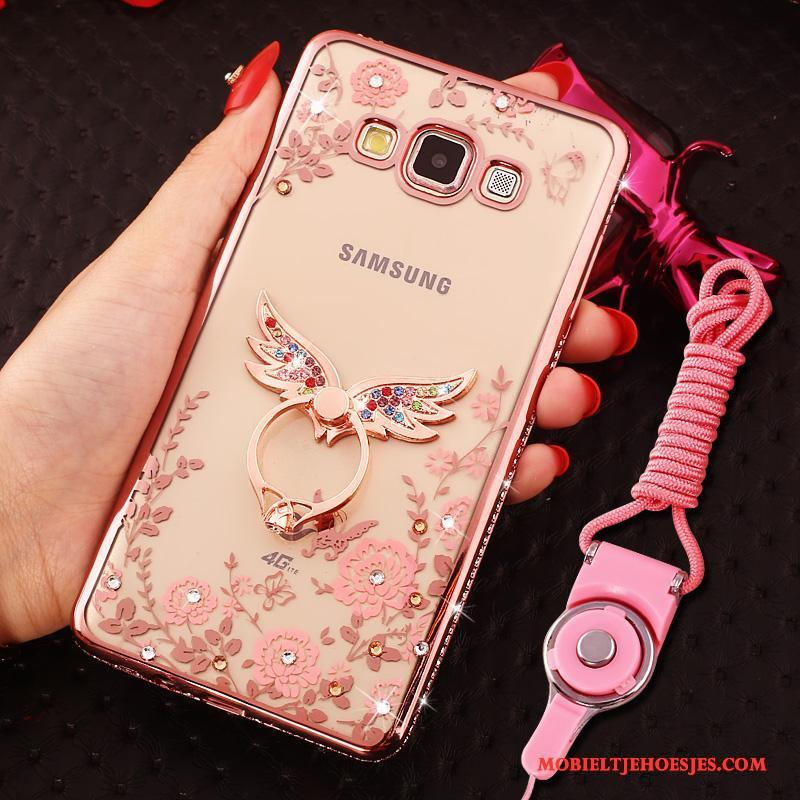 Samsung Galaxy J7 2016 Hoesje Rose Goud Anti-fall Ster Hoes Bescherming Siliconen Met Strass