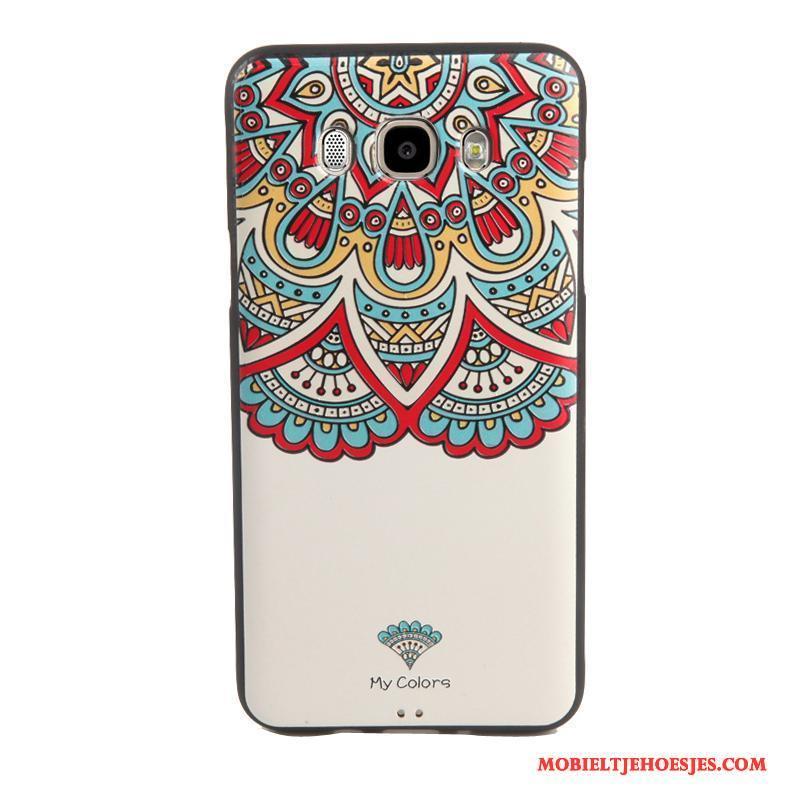 Samsung Galaxy J7 2016 Reliëf Tempereren Spotprent Hoesje Telefoon Bescherming Skärmskydd Ster