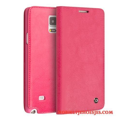 Samsung Galaxy Note 4 Mobiele Telefoon Bescherming Ster Hoes Echt Leer Zwart Hoesje