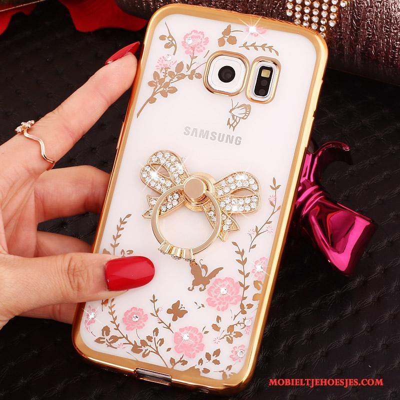 Samsung Galaxy S6 Edge Bescherming Hoes Goud Ster Mobiele Telefoon Spotprent Hoesje