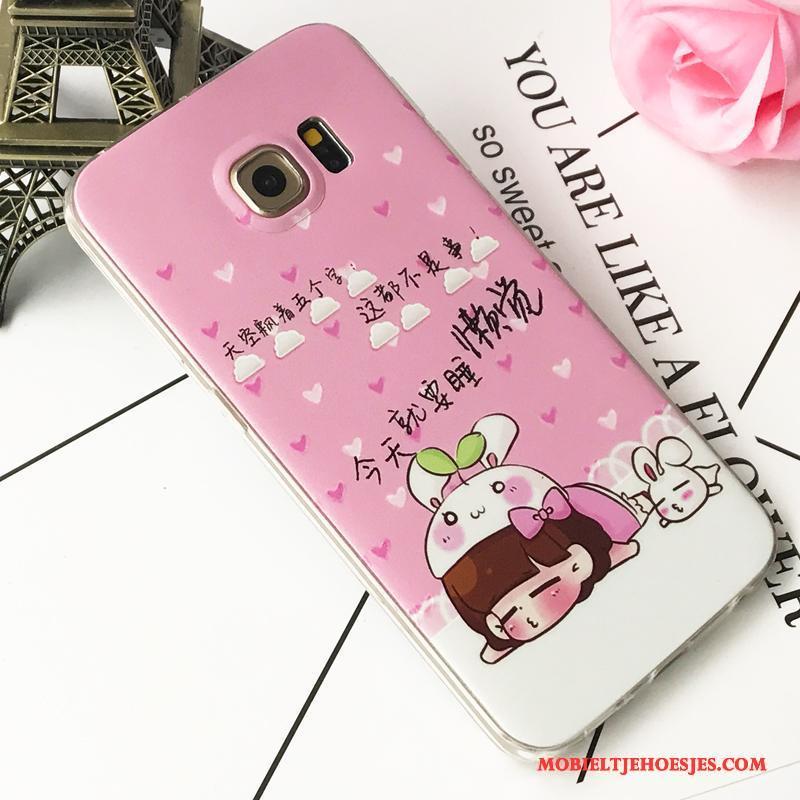 Samsung Galaxy S6 Edge Hoes Hoesje Telefoon Ster Siliconen Bescherming Roze Persoonlijk