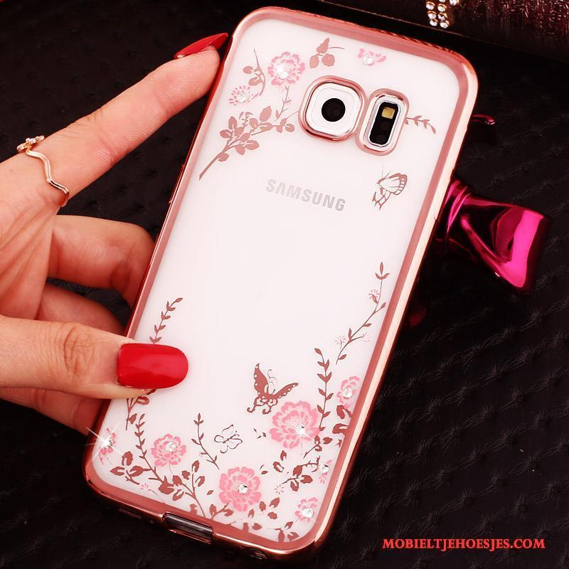Samsung Galaxy S6 Edge Hoesje Ring Bescherming Klittenband Ster Met Strass Roze