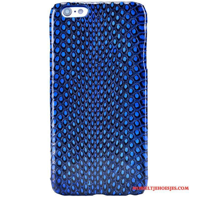 Samsung Galaxy S6 Edge + Luxe Hoes Hoesje Telefoon Ster Blauw Echt Leer Anti-fall