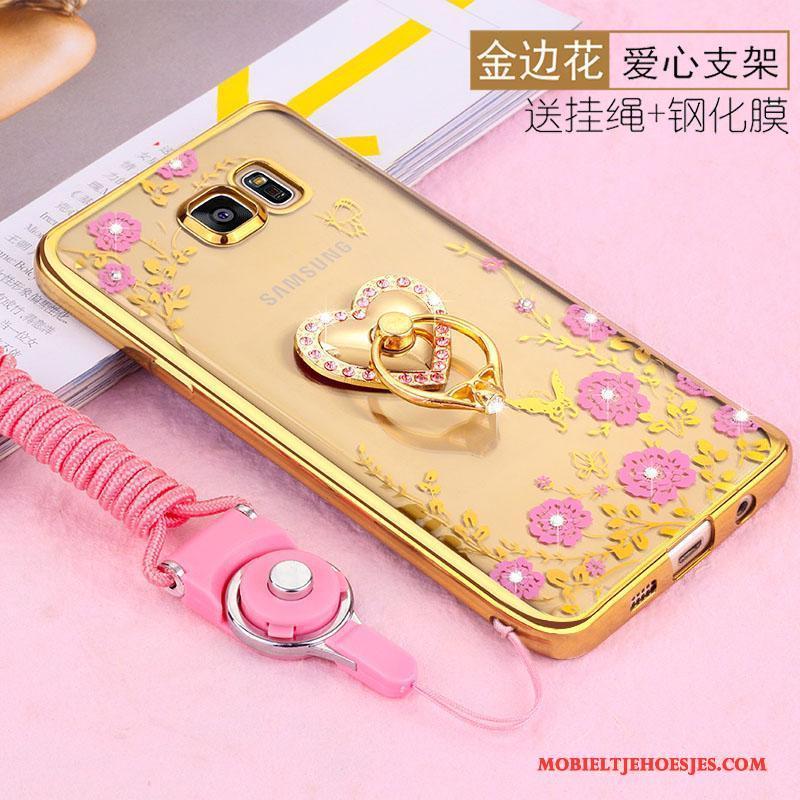Samsung Galaxy S6 Edge Ster Zacht Bescherming Hoesje Telefoon Goud Hanger