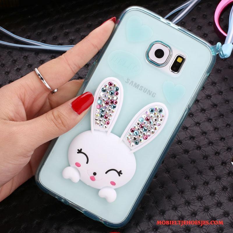 Samsung Galaxy S7 Edge Hoesje Doorzichtig Purper Hoes Bescherming Spotprent Mobiele Telefoon Met Strass