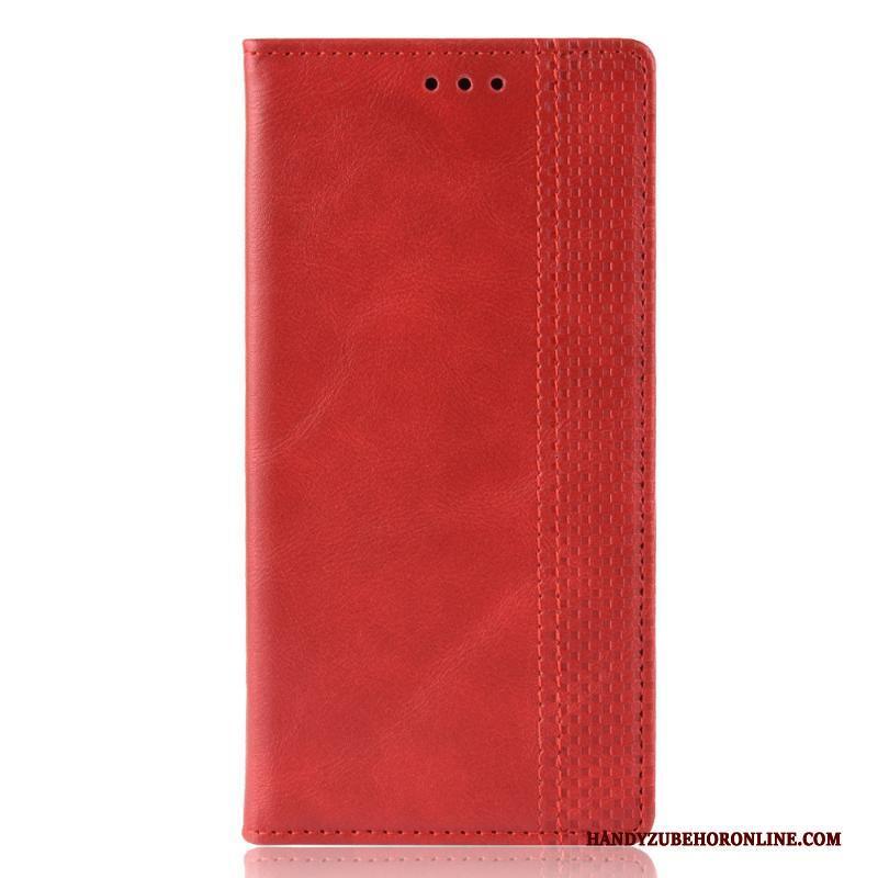 iPhone 12 Pro Max Leren Etui Folio Magnetisch Hoesje Telefoon Rood Mobiele Telefoon
