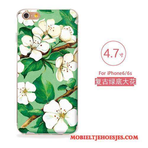 iPhone 6/6s Kunst Reliëf Nieuw Siliconen Hoesje Zacht Bloemen