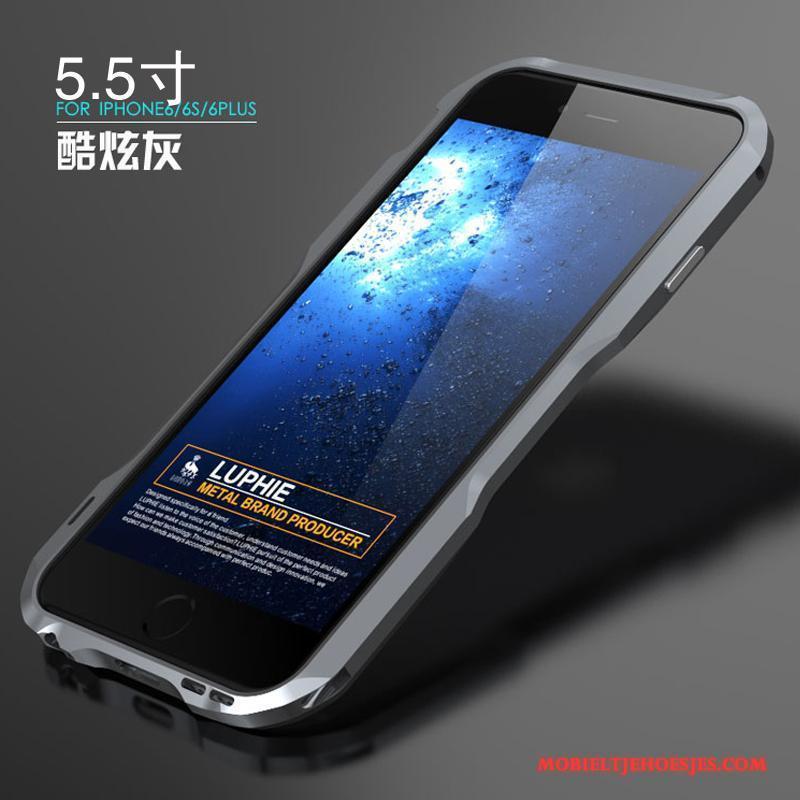 iPhone 6/6s Plus Hoesje Scheppend Anti-fall Hoes Mobiele Telefoon Grijs Persoonlijk Metaal