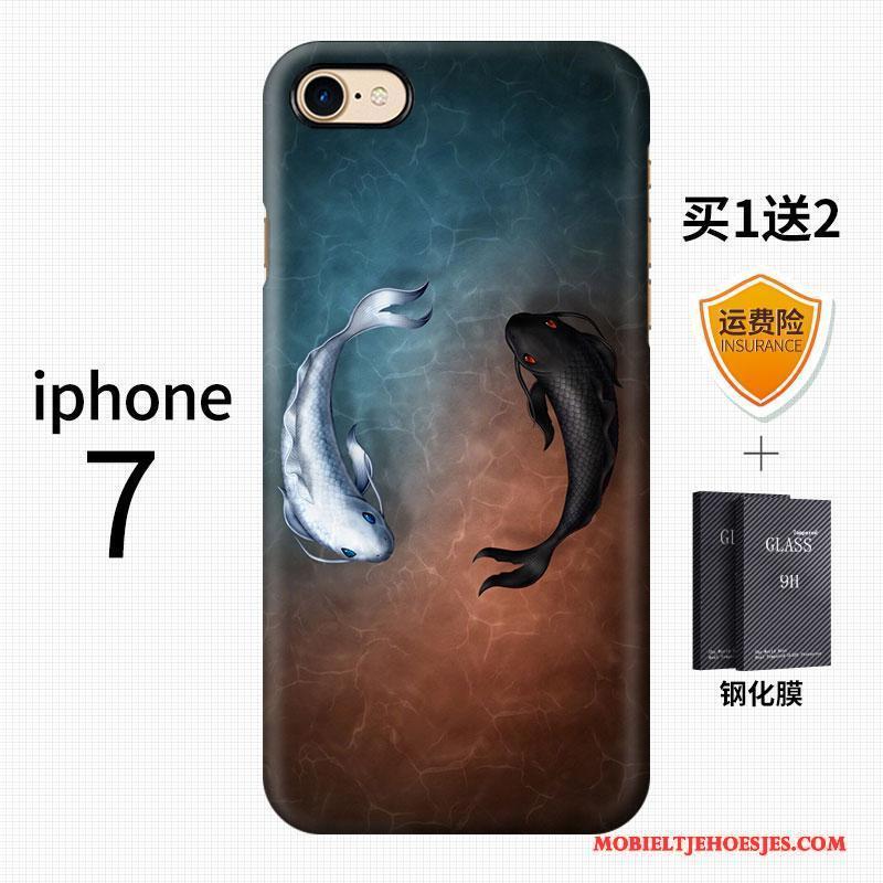iPhone 7 Kleur Kunst Schrobben Anti-fall Hoesje Telefoon Trend Chinese Stijl