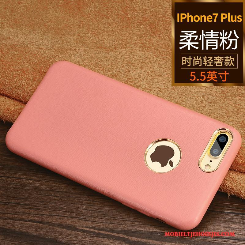 iPhone 7 Plus Bedrijf Hoesje Trend Telefoon Blauw Leren Etui Bescherming