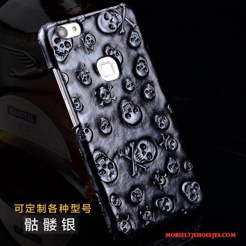 iPhone 7 Plus Hoesje Anti-fall Achterklep Bescherming Echt Leer Leren Etui Zilver Hoes