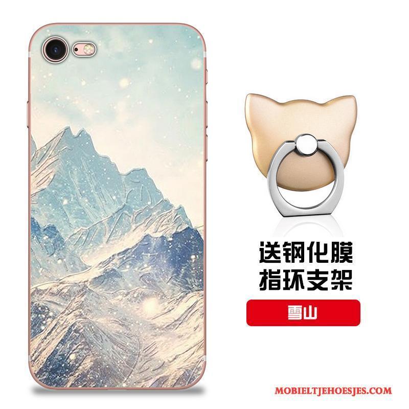 iPhone 8 Hoesje Pas Zacht Roze Siliconen Bescherming Patroon Hoes