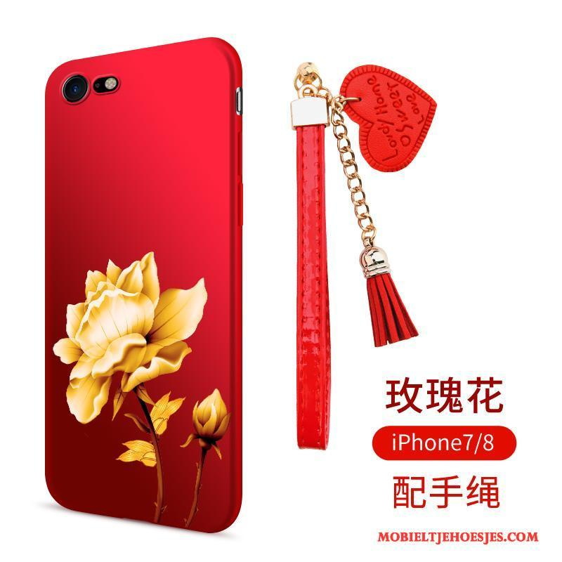 iPhone 8 Hoesje Telefoon Anti-fall Rood Siliconen Schrobben Zacht All Inclusive