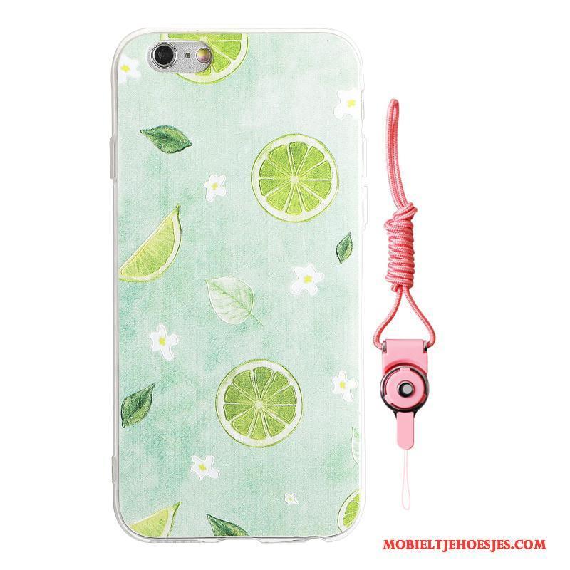 iPhone 8 Plus Hoesje Telefoon Original Net Red Zacht Citroen Watermeloen Doorzichtig