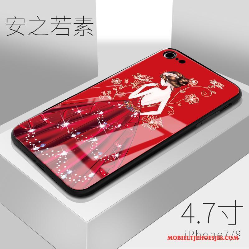 iPhone 8 Rood Hoesje Telefoon Siliconen Glas Zacht Anti-fall