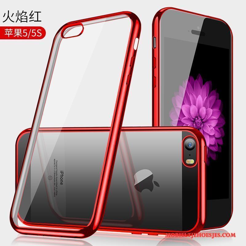 iPhone Se Blauw Doorzichtig Anti-fall Hoesje Telefoon Plating Zacht Trend