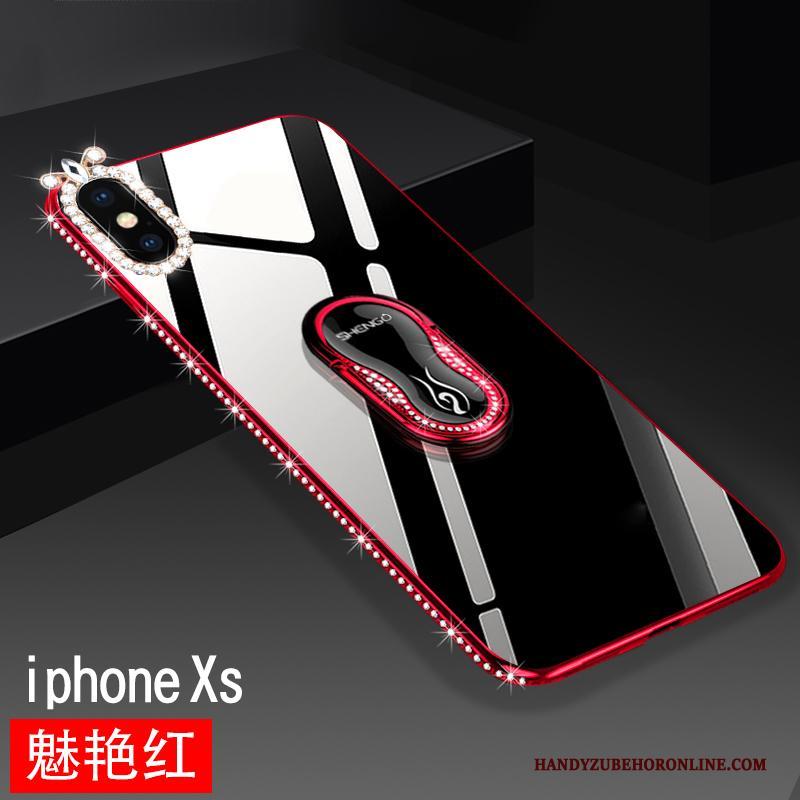 iPhone Xs Bescherming Anti-fall Hoesje Ondersteuning Glas Rood Telefoon