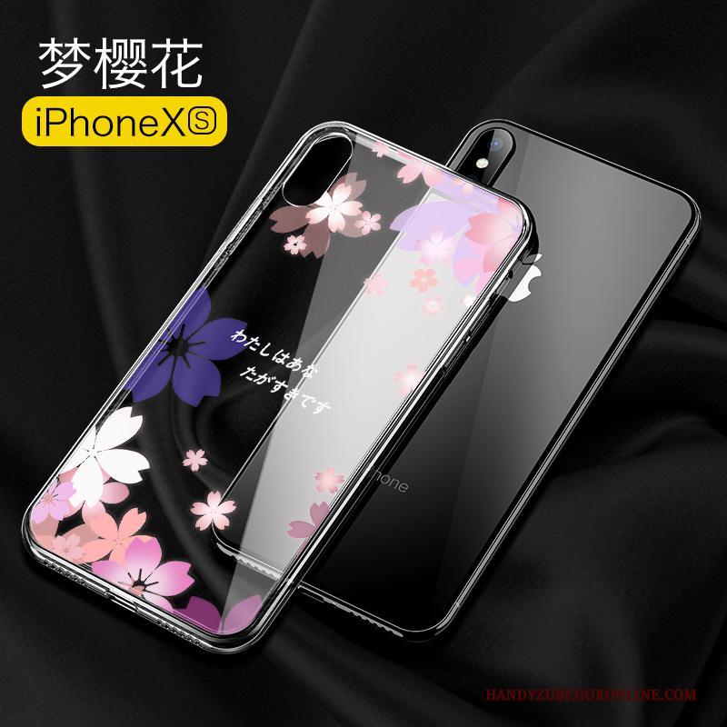 iPhone Xs Hoesje Glas Persoonlijk Anti-fall Nieuw Scheppend Trendy Merk Doorzichtig