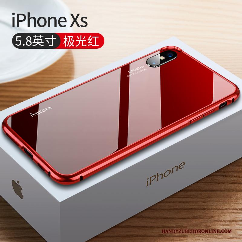 iPhone Xs Hoesje Nieuw Metaal Trendy Merk Rood Anti-fall High End Omlijsting