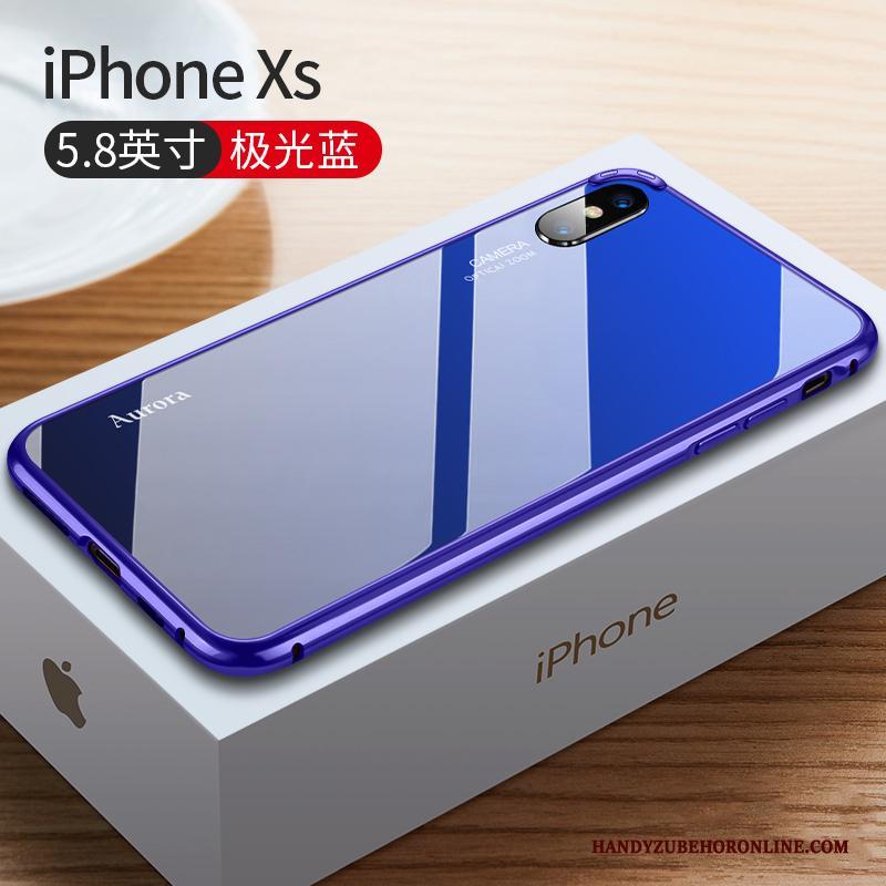 iPhone Xs Hoesje Nieuw Metaal Trendy Merk Rood Anti-fall High End Omlijsting