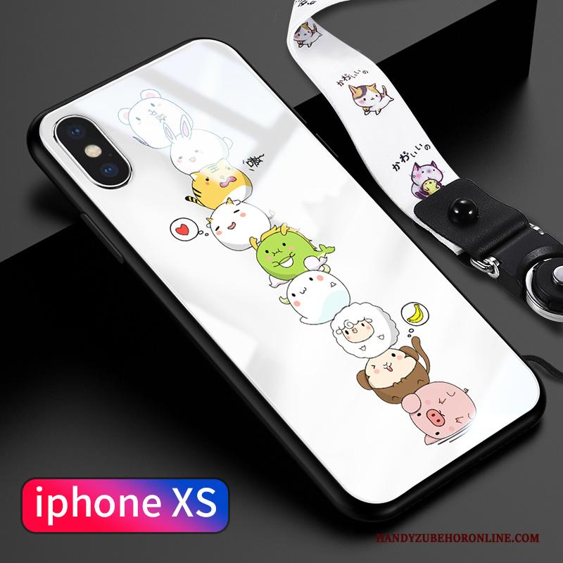 iPhone Xs Hoesje Pu Zacht Spotprent Roze Glas Lichte En Dun Hanger