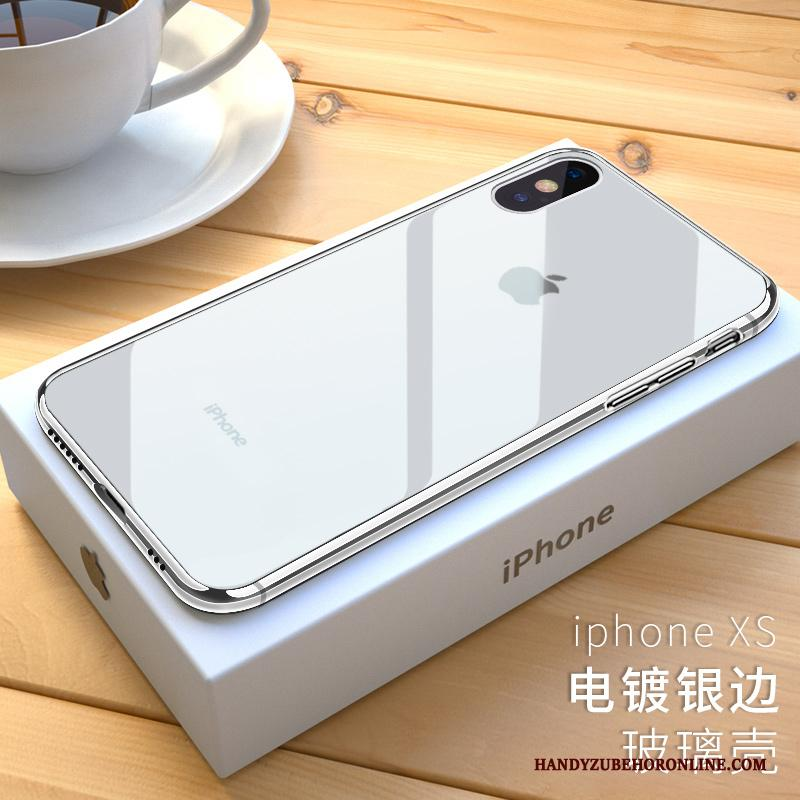iPhone Xs Hoesje Rood Wit Siliconen Nieuw Trendy Merk Doorzichtig Anti-fall