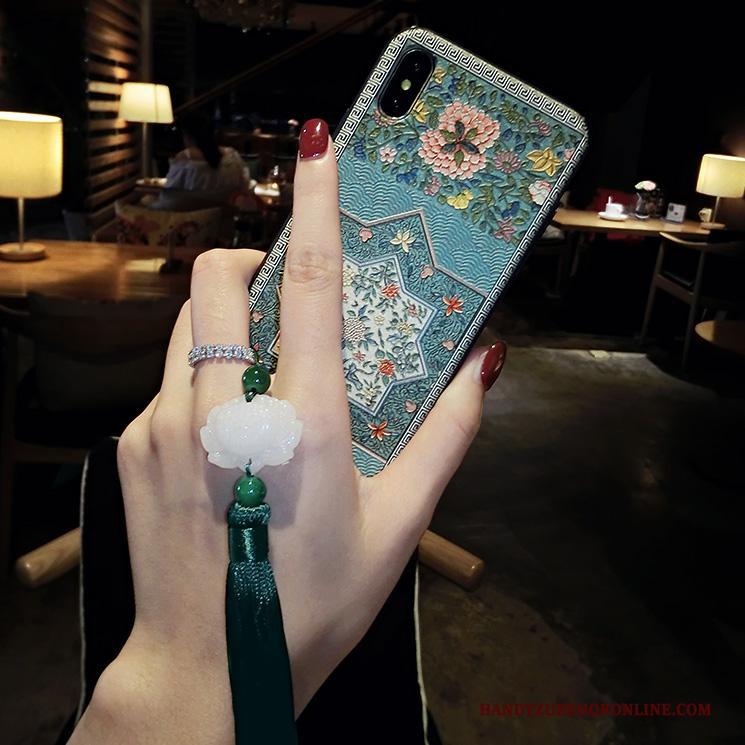 iPhone Xs Hoesje Telefoon Blauw Reliëf Scheppend Etnische Wind Nieuw