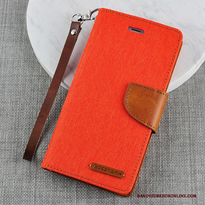 iPhone Xs Hoesje Zacht Leren Etui Folio Bescherming Anti-fall Geel Siliconen