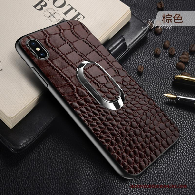 iPhone Xs Leer Wijnrood Anti-fall High End Hoesje Telefoon Leren Etui Auto