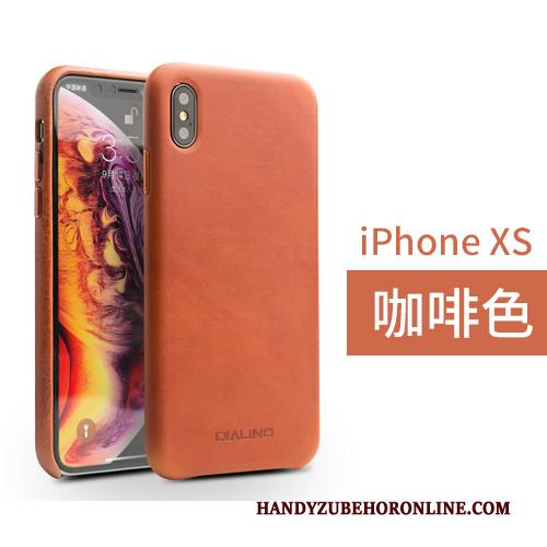 iPhone Xs Leren Etui Achterklep Leer Bedrijf Hoesje Telefoon Bruin Echt Leer