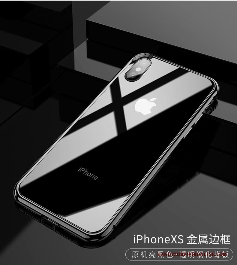 iPhone Xs Omlijsting Anti-fall Metaal Hoesje Telefoon Nieuw Glas Trendy Merk