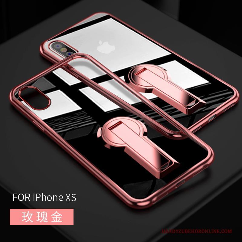 iPhone Xs Ondersteuning Hoesje Telefoon Doorzichtig Persoonlijk Purper Anti-fall Trendy Merk