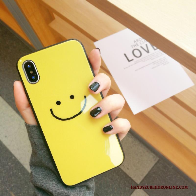 iPhone Xs Persoonlijk Smiley Glas Zwart All Inclusive Scheppend Hoesje Telefoon