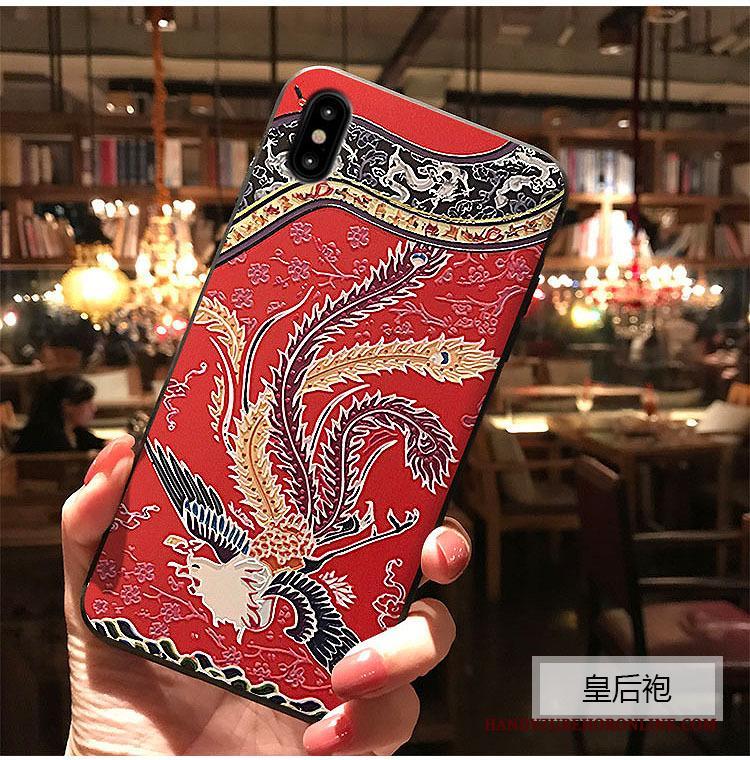 iPhone Xs Reliëf Blauw Hoes Hoesje Telefoon Bescherming