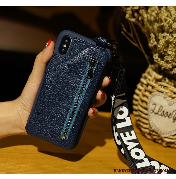 iPhone Xs Tas Nieuw Hanger Sleutel Hoesje Telefoon Portemonnee Blauw
