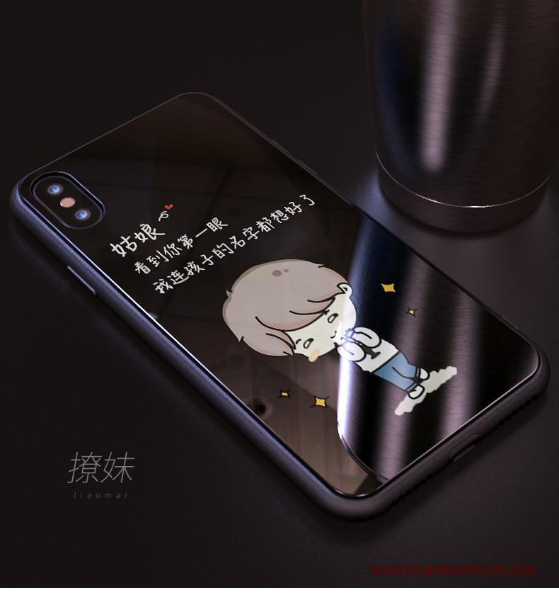 iPhone Xs Zacht Hoesje Telefoon Anti-fall Scheppend Zwart Persoonlijk Glas