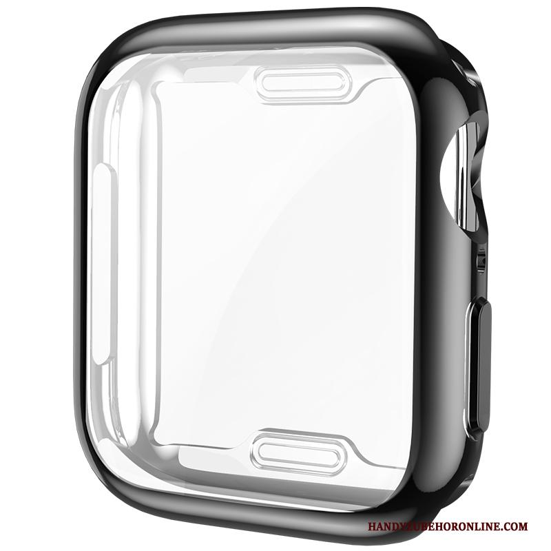 Apple Watch Series 4 Hoesje Plating All Inclusive Zwart Siliconen Anti-fall Bescherming Skärmskydd