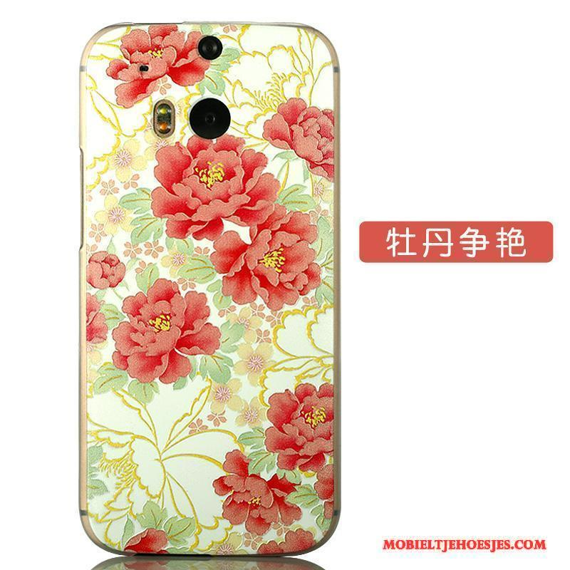 Htc One M8 Dun Bloemen Hoesje Telefoon Spotprent Hard Anti-fall Scheppend