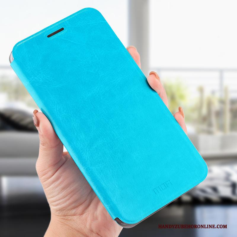 Huawei Mate 20 X Clamshell All Inclusive Hoesje Telefoon Anti-fall Blauw Leren Etui
