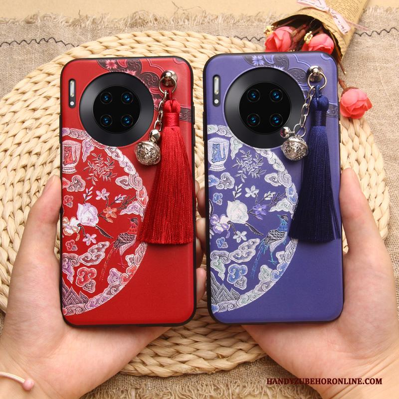 Huawei Mate 30 Pro Chinese Stijl Hoesje Telefoon Siliconen Scheppend All Inclusive Rood Persoonlijk