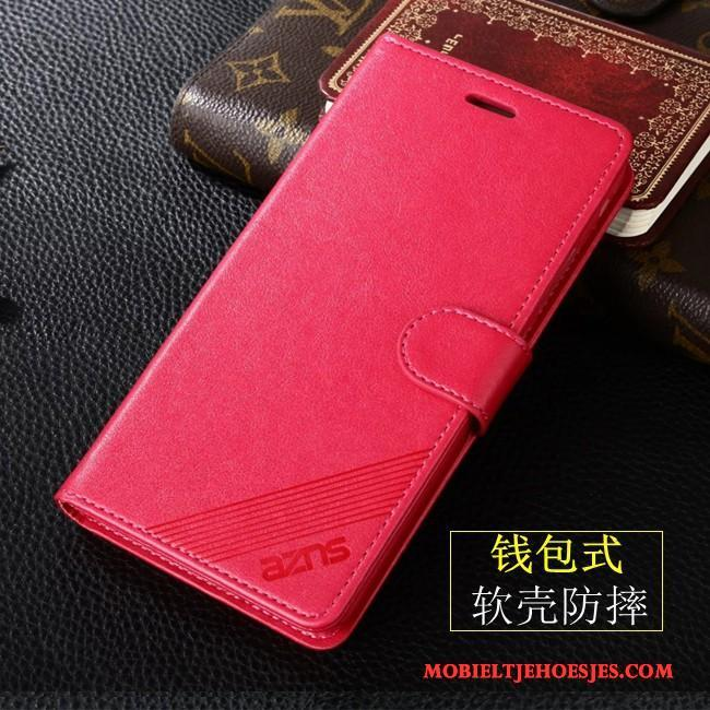 Huawei P Smart Hoesje Telefoon Leren Etui All Inclusive Rood Clamshell Anti-fall