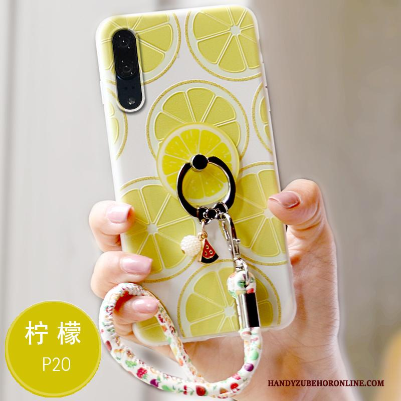 Huawei P20 Hoesje Hoes Schrobben All Inclusive Zacht Siliconen Geel Reliëf