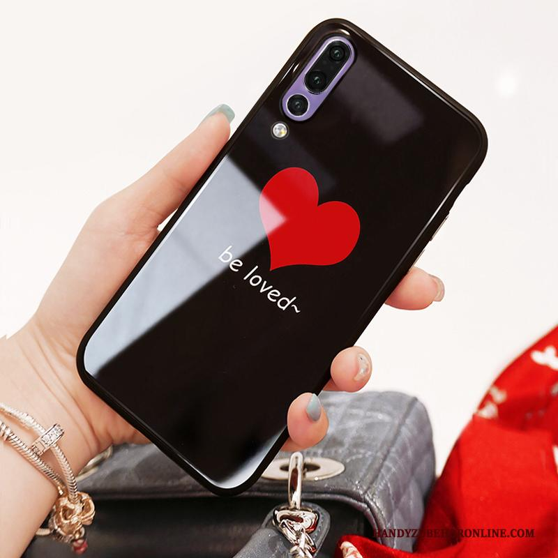 Huawei P20 Pro Hoesje Telefoon Zwart Glas All Inclusive Trendy Merk Net Red Anti-fall